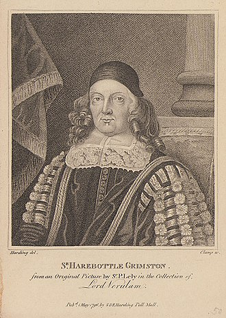 Grimston baronets - 18th-century engraving of Sir Harbottle Grimston, 2nd Baronet, after a painting by Sir Peter Lely