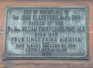 Sir John Gladstone, 1st Baronet - Gladstone's plaque in Leith