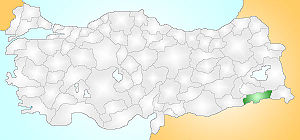 Shows the location of the Şırnak province in T...