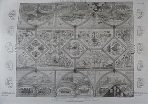 Skelmorlie Aisle - The 1638 painted decorative ceiling.
