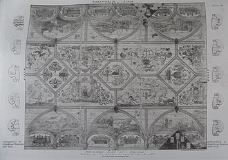 Skelmorlie Aisle - The 1638 painted decorative ceiling.