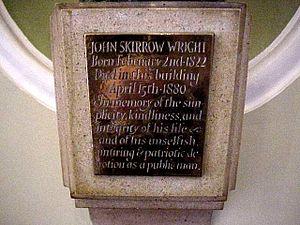 John Skirrow Wright - Inscription on Wright's bust