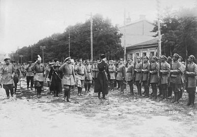 "Skoropadskyi inspecting troops from the ""Greycoat"" division"