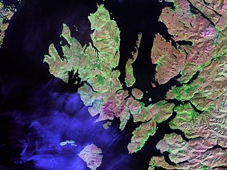 Inner Sound, Scotland - The Inner Sound lies between the thin finger of Raasay Island and the Scottish mainland to the right of centre in this Landsat view.
