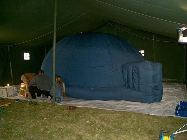Small inflatable portable planetarium dome