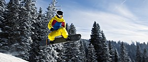 English: Snowboarder in Tannheim, Austria. Fra...