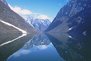 Overdeepening - Sognefjord in Norway, the second longest fjord in the world, shows characteristic overdeepening.