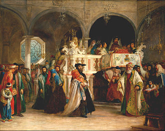 Simchat Torah - The Feast of the Rejoicing of the Law at the Synagogue in Livorno, Italy by Solomon Hart, 1850 (Jewish Museum)