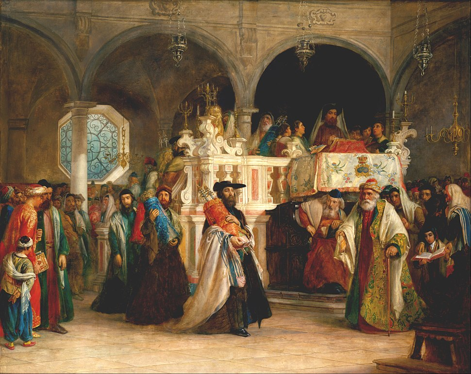 Solomon Alexander Hart - The Feast of the Rejoicing of the Law at the Synagogue in Leghorn, Italy - Google Art Project