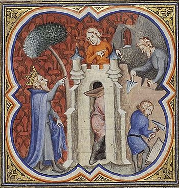 English: Solomon builds the temple