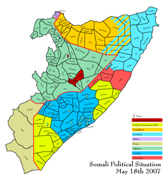Ogaden National Liberation Front - Territories inhabited by ethnic Somalis. Area of ONLF operations, as of May 2007, shaded in red within the green area marking Ethiopian territory.