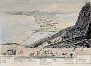 Great Siege of Gibraltar - View of the sortie from above the Prince's Lines