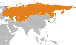 Map indicating locations of South Korea and Soviet Union