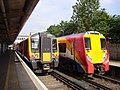 South West Trains 450124 and 458024, Feltham Station (14028265719).jpg