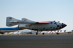 SpaceShipOne flight 11P - SpaceShipOne after its successful flight into space, June 21, 2004.
