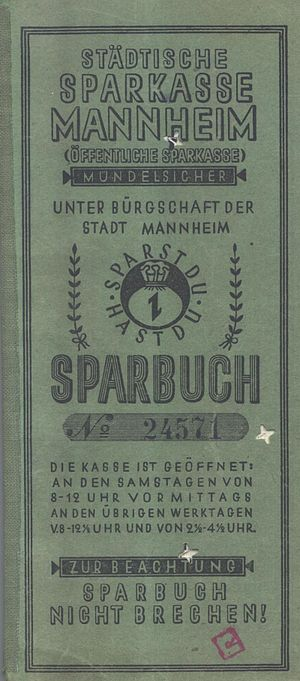 German public bank - Sparkasse issued passbooks to depositors.  Pictured: Mannheim 1942 passbook or sparbuch