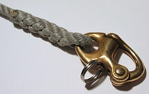 Shackle - A snap shackle spliced to a line.