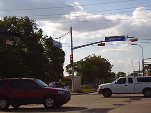 Spring Branch, Houston - The intersection of Blalock and Westview, with Spring Branch street signs