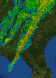 Radar image of a line of strong storms