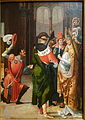 St. Anno of Cologne Receiving the Donation of Siegburg, view 1, by the Master of the Saints Agilolfus and Anno Altarpiece, Netherlandish (Antwerp), 1520, oil on wood - Chazen Museum of Art - DSC02066.JPG