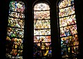 St. Michael's Episcopal Church - Tiffany Windows Depicting St. Michael's Victory in Heaven (middle 3 panes out of 7 panes).jpg