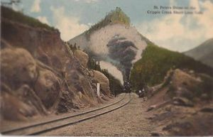 Mining in Colorado Springs, Colorado - Colorado Springs and Cripple Creek District Railway at St. Peter's Dome,  1910s