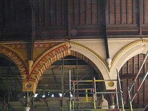 St Jude's Church, Kensington - Paintwork being removed during building project