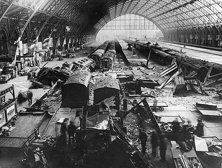 The station was damaged by a bomb in May 1941 during the Blitz. St Pancras railway station bomb damage in May 1941.jpg
