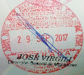 Visa policy of Paraguay - Image: Stamp of Paraguay 2017