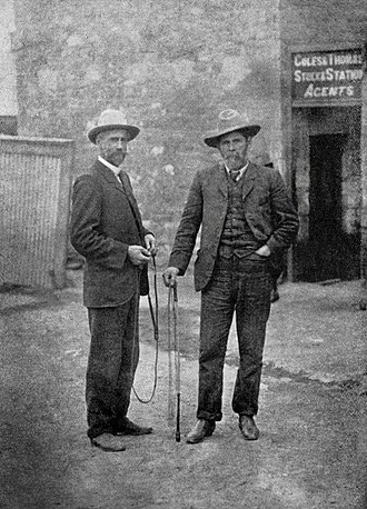 Sidney Kidman - Sidney Kidman (left) and J. R. Chisholm photographed holding stock whips in 1905