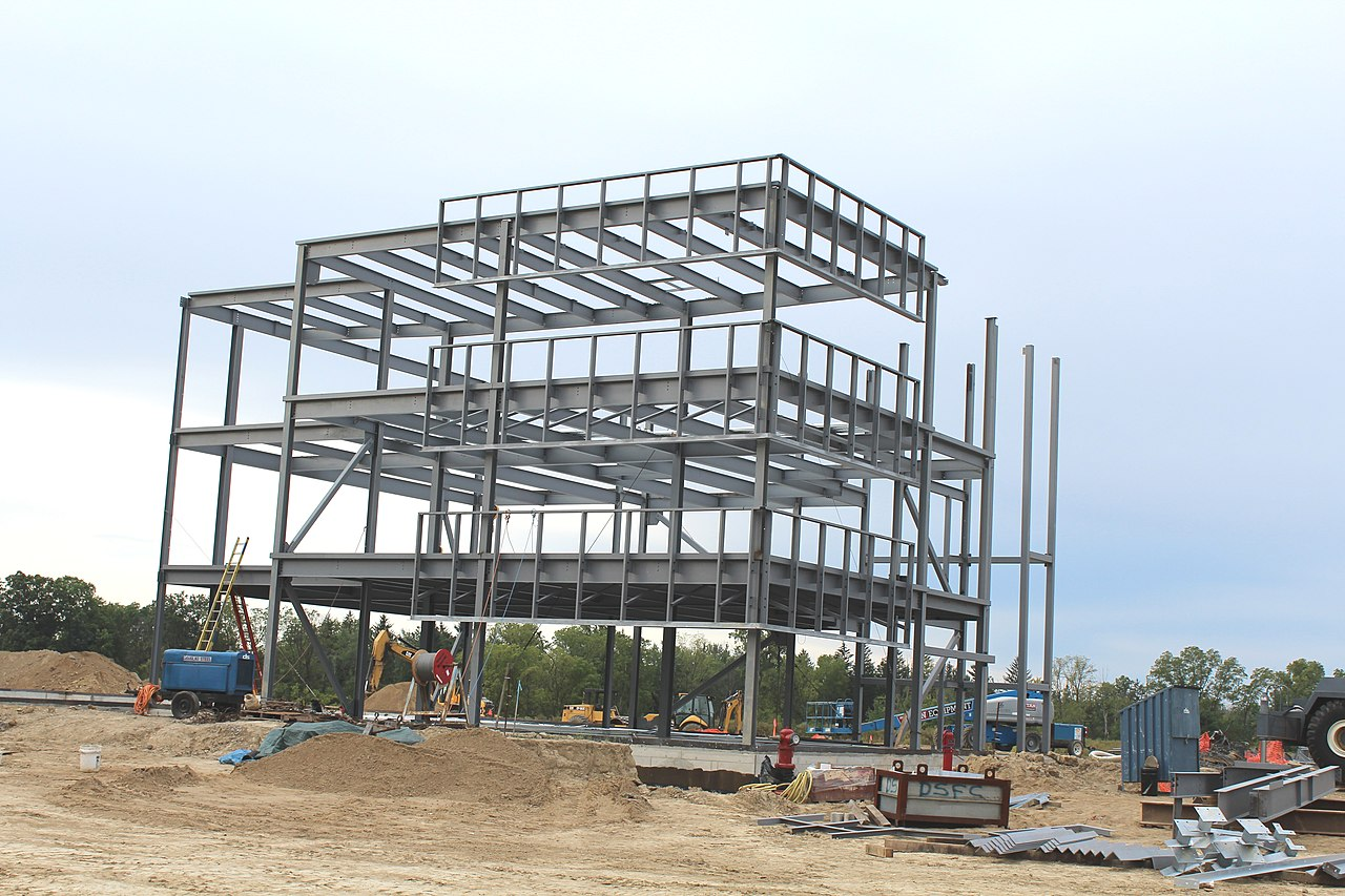 File:Steel Frame Commercial Building Under Construction ...