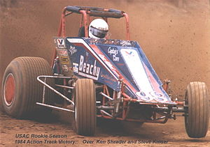Steve Butler -  During his rookie USAC season, Butler delivers an upset win over Steve Kinser and Ken Schrader at Terra Haute, IN