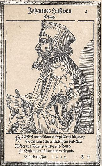 Jan Hus - Woodcut of Jan Hus, circa 1587.