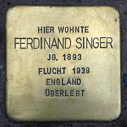 Photo of Ferdinand Singer brass plaque