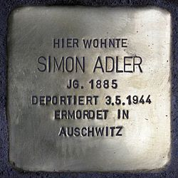 Photo of Simon Adler brass plaque