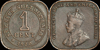 Straits dollar - One Straits one cent coin from 1920