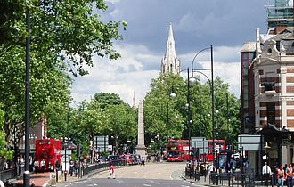 Stratford, London - Stratford town centre with Stratford Broadway, the Gurney Memorial and the spire of St John's Church