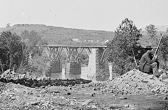 Strawberry Plains, Tennessee - Strawberry Plains bridge with sentry and fort in distance
