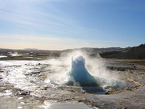 Renewable energy in Iceland - The Strokkur geyser. Lying on the Mid-Atlantic Ridge, Iceland is one of the most geologically active areas on Earth.