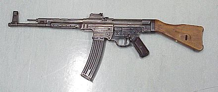 The StG 44 was adopted by the Wehrmacht in 1944. It fires the 7.92x33mm Kurz round. Sturmgewehr 44.jpg