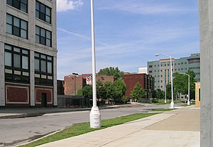 Sugar Hill Historic District (Detroit) - Garfield Street, looking east from Woodward.  The building to the left is the Garfield Building; the John Dingell Detroit Veterans' Administration Hospital is in the background, and the Garfield Manor Apartments in the center.