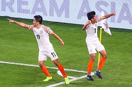 Chhetri celebrating a goal with his teammate Anirudh Thapa in a 2019 AFC Asian Cup group match against Thailand Sunil Chhetri & Anirudh Thapa Celebrating goal.jpg