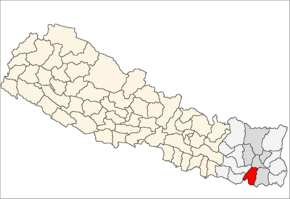 Sunsari District i Kosi Zone (grå) i Eastern Development Region (grå + lysegrå)