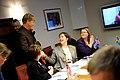 Sveriges miljominister Andreas Carlgren halsar pa sin islandska kollega Svandis Svavarsdottir. Nordiska radets session i Stockholm 2009.jpg