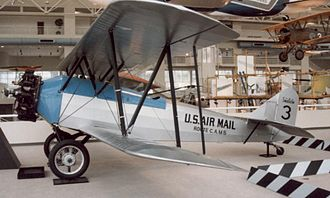 Varney Air Lines - Swallow J-5 built 1924 with markings of CAM 5 as operated by Varney Airlines. Displayed at the Museum of Flight, Boeing Field, Seattle, May 1989.