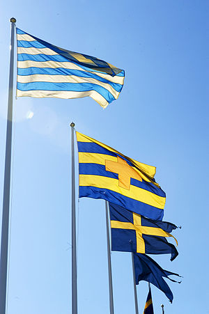Flag of Sweden - Swedish historical flags at the Maritime Museum in Stockholm. The striped designs are some of the earliest variants on the general theme of the state colors of blue and yellow.