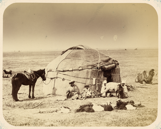 Yurt Portable, round tent covered with skins or felt and used by nomadic groups in Central Asia