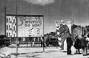 Polish people's referendum, 1946 - Agitation poster in Warsaw