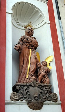 Tabor CZ Nativity of Virgin Mary church front St Monica.jpg