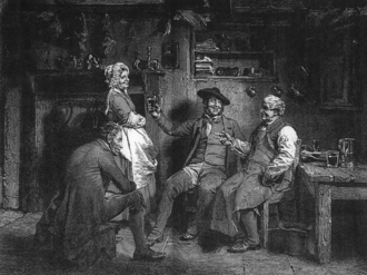 Tam o' Shanter (poem) - The opening scene of the poem – Tam and his cronies drinking at Kirkton Jean's